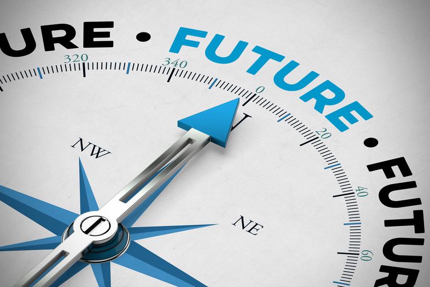 Pfeil von einem Kompass zeigt auf das Wort Future
