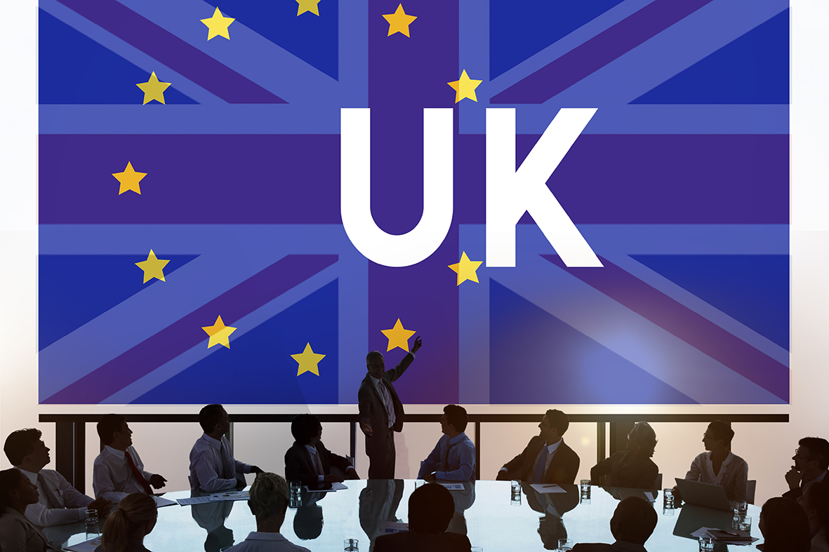 Business people tackling issues about UK